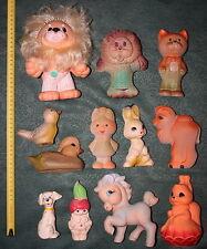 1950-70s 12 Vtg Soviet RUBBER TOYS Doll Animals Horse Cat USSR Ukraine Fine Gift