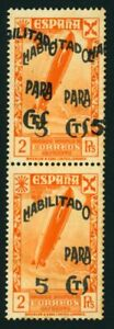 O312 SPAIN BENEFIC #48, 48hh MNH**. ZEPPELIN STAMPS DOUBLE OVERPRINT ON PAIR.