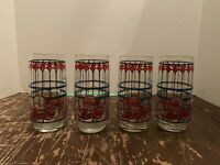 Vintage Red & Blue Stained Glass Pepsi Cola Glass Tumbler 14 Ounce Set of 4