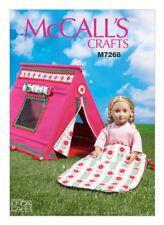 "McCalls Craft Easy Sewing Pattern 7268 18"" Dolls Sleeping Bag & Tent (McC..."