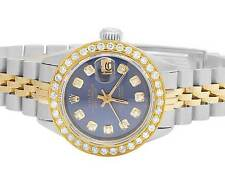 Ladies Rolex Datejust Two Tone 18K/ Steel 26MM Blue Dial Diamond Watch 2.0 Ct
