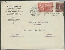 FRANCE 1924 Olympic Games Paris cover Olympic stamp & Mach. cancel Clignancourt
