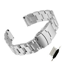 Mens Stainless Steel Watch Bracelet Strap Double Lock Solid Band 18 20 22 24 mm