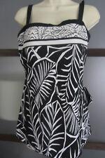 LE COVE Bathing Swim Dress Suit ONE PIECE FRONT SKIRT Black White Size 14