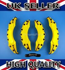 UNIVERSAL BRAKE CALIPER COVERS SET KIT FRONT & REAR YELLOW ABS 4PCS - AMG
