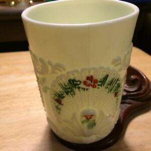 """Vintage Northwood Geneva Custard Glass Handpainted 4"""" Tumbler"""