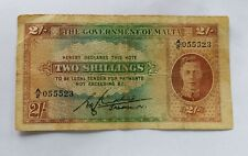 More details for the government of malta george vi / 2 two shilling bank note rare note ww2