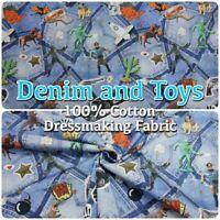 KC7001-651 Denim Jeans Digital Toy Motif Print 100% Cotton Dressmaking Fabric