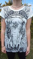 Sure Design, 100% Cotton 'Wild Elephant' Women's Hippy/Boho fitted T-shirt/MED