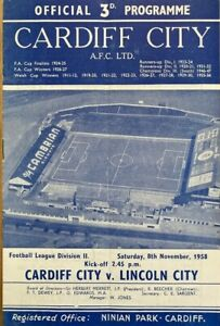 Cardiff City v Lincoln City  Div 2  1958/59
