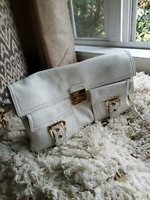 CELINE White Lamb Leather Gold Hardware Flap Clutch/Shoulder Bag