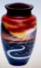 Hand painted Lifes Path beautiful full size adult memorial urn 210 cubic inches