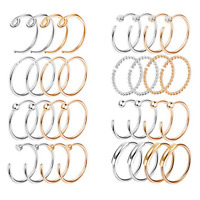 20G 2-32PCS Nose Ring Set Stainless Steel Lip Ear Hoop Body Piercing Jewelry
