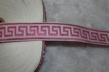 "5 yards bubblegum pink white greek key woven jacquard sewing trim 1"" wide"
