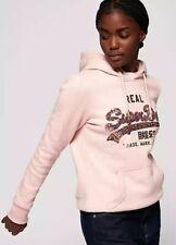 Superdry NWT UK size 6 blush pink marl vintage sequin logo hooded jumper