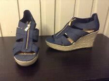 Blue Tan Wedges High Heels Womens Shoes Size 11