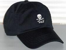 POLO RALPH LAUREN Men's Chino Skull & Crossbones Hat, Sport Baseball Cap, BLACK