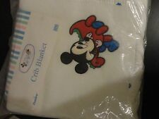 """VINTAGE DUNDEE DISNEY BABY MICKEY COLLECTION CRIB BLANKET 36"""" X45"""" NEW"""