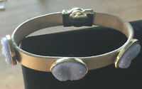 """CHICO'S Purple Textured 3 Stone on 8"""" Gold Vegan Leather Band Magnetic Bracelet"""
