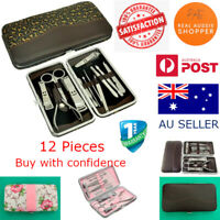 Manicure Pedicure Set Stainless Nail Clippers Kit Cuticle Grooming Case 12 pcs