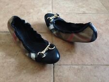 BURBERRY Shipley' Check Print Ballet Shoe Size 39 Gold buckle Flats $395