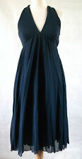 MOSCHINO CHEAP & CHIC halter neck twist back french navy blue goddess dress 10