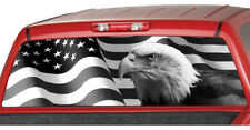 AMERICAN EAGLE -FLAG B/W Rear Window PERFORATED Decal Tint Sticker for Truck ute