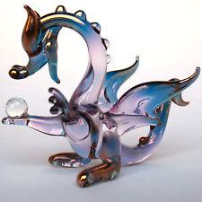 Dragon Purple Pink Gold Figurine of Blown Glass Crystal