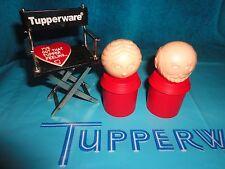 VINTAGE TUPPERWARE TUPPER TOY PEOPLE # 1955 SANTA & MRS CLAUSE RED
