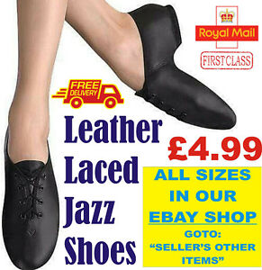 BLACK JAZZ DANCE SHOES Leather split unisex suede sole pumps irish hard jig (CC)