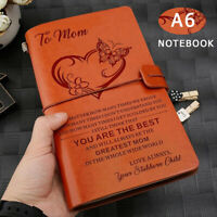 To Mom Retro Engraved Leather A6 Journal Travel Notepad Notebook Diary Gift New