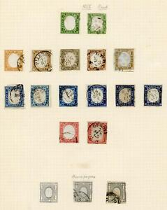 Italian States; Sardinia 1855-63 seln of 7 mint and 18 used stamps fair to fine.