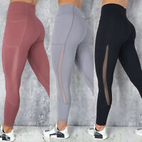 Womens Yoga Pants Mesh High Waisted Pockets Fitness Leggings Sports Active Wear