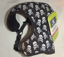 TOP PAW ~ COMFORT HARNESS ~ BLACK w/ SKULLS & CROSSBONES ~ X SMALL *NEW