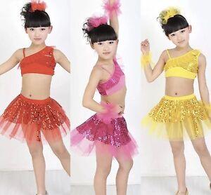 Girls Dance Skirt/Top Disco Latin Jazz Sequin Fancy Dress Set Red/Pink Bling UK