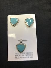 Taxco Mexico 925 Sterling Silver Mexican Inlay Turquoise Earrings/Pendant Set