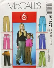Girls Casual Pants Sash Scarf Pattern 6 Easy Looks M4577 Size 7 8 10 12 New