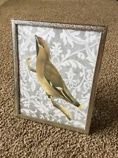 Vintage Decor Silver Stamped Metal Picture Frame Wedding Gift Bird Gray 8x10
