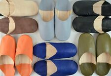 MENS MOROCCAN LEATHER BABOUCHE SLIPPERS SHEEPSKIN SLIDES MULES *HANDMADE*