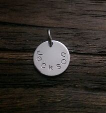 Personalised Hand Stamped Name Charm Pendant 15mm Disc with Jump Ring
