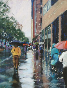 John K. Harrell Rainy Street Scene Hand Signed Original Pastel Drawing on Paper