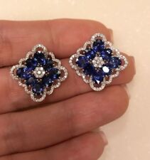 6Ct Oval Blue Sapphire Synt Diamond Filigree Stud Earrings White Gold Fns Silver