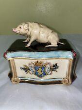 Josef Steidl znaim majolica covered pig cigar box