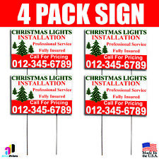 4X Christmas Lights Installation Yard Signs Your Phone Number Fully Insured