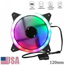 12V RGB Computer Fan 12025 LED Air Cooling Case 4Pin to 3Pin PC CPU Cooler