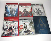 Assassin's Creed 1, 2, 3, 4 Set Bundle Lot of 6 PlayStation 3 PS3 Games