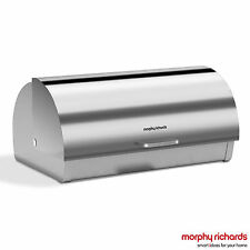 Morphy Richards 46245 Accents Bread Bin Roll Top - Stainless Steel - Brand New