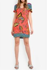Desigual Wonderfull Dress 36 Deep Sea Coral Blue Floral Short Sleeve Shift XS