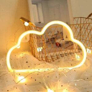 LED Neon Night Lights Warm White Cloud Shape Children Bedroom Lamp Decor
