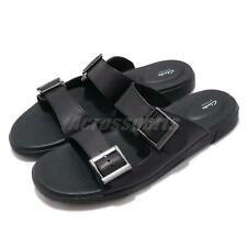 Clarks Vine Cedar Black Leather Men Casual Lifestyle Sandals Slides Slippers